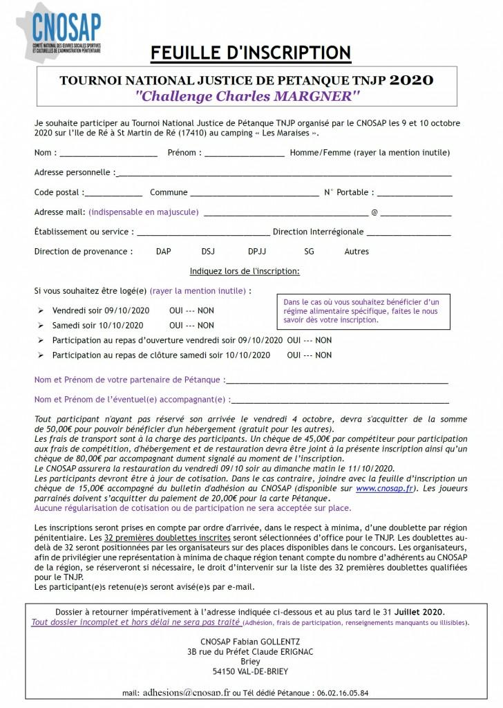 Feuille d'inscription TNJP 2020